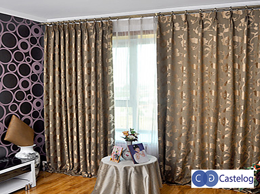 Cortina jacquard argollas castelog for Cortinas con argollas